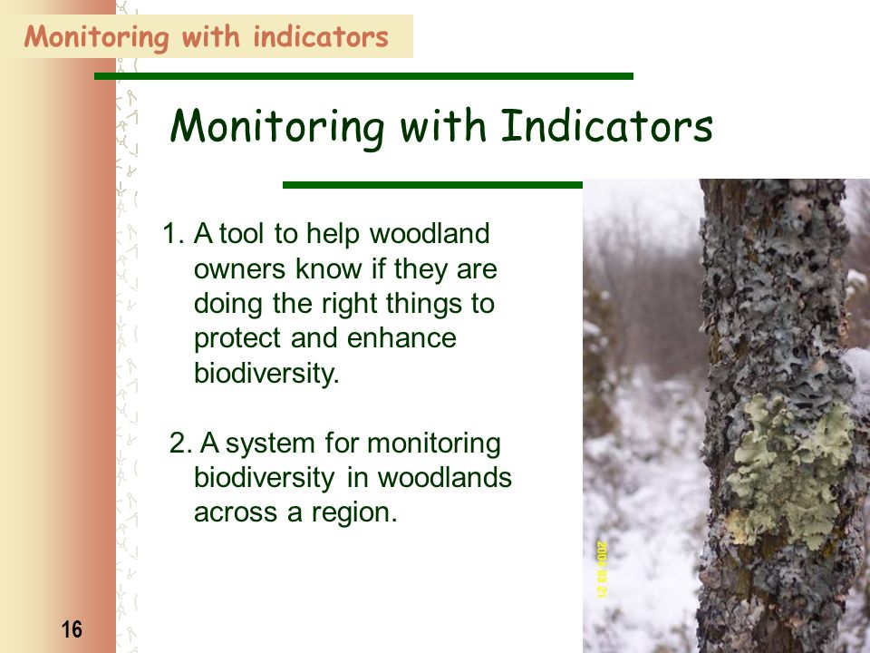 16 1.A tool to help woodland owners know if they are doing the right things to protect and enhance biodiversity. 2. A system for monitoring biodiversi