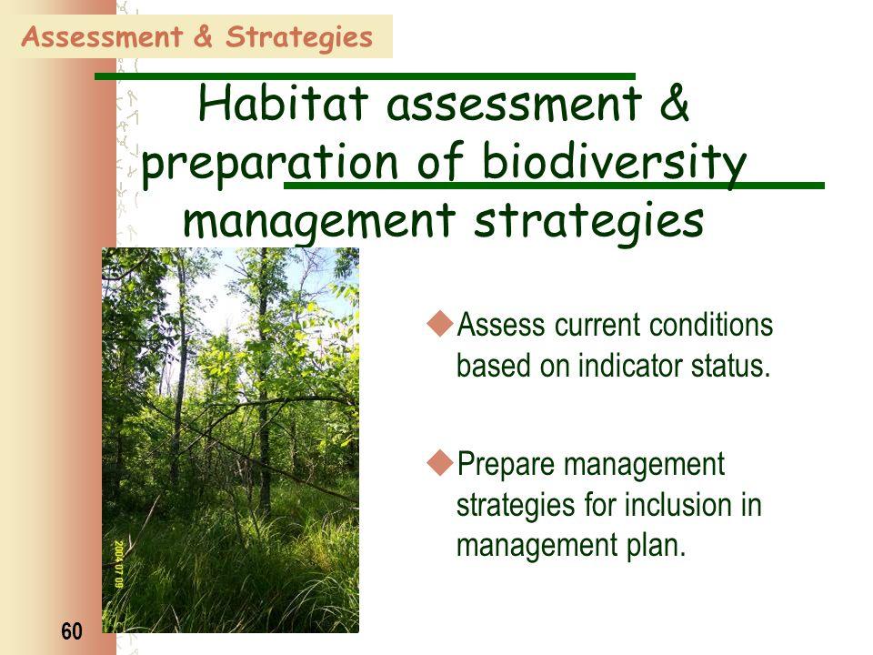 60 Assessment & Strategies Habitat assessment & preparation of biodiversity management strategies  Assess current conditions based on indicator statu