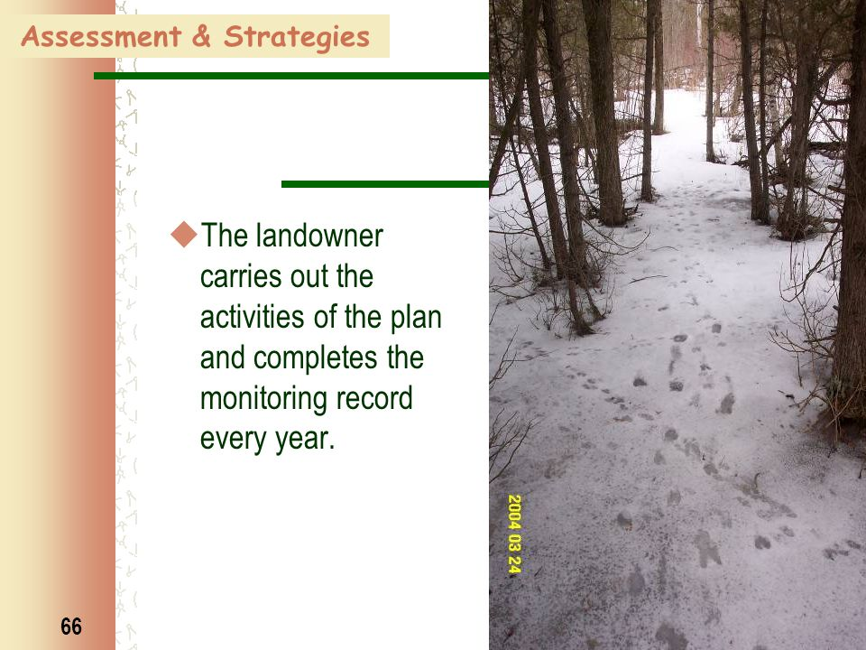 66 Assessment & Strategies  The landowner carries out the activities of the plan and completes the monitoring record every year.
