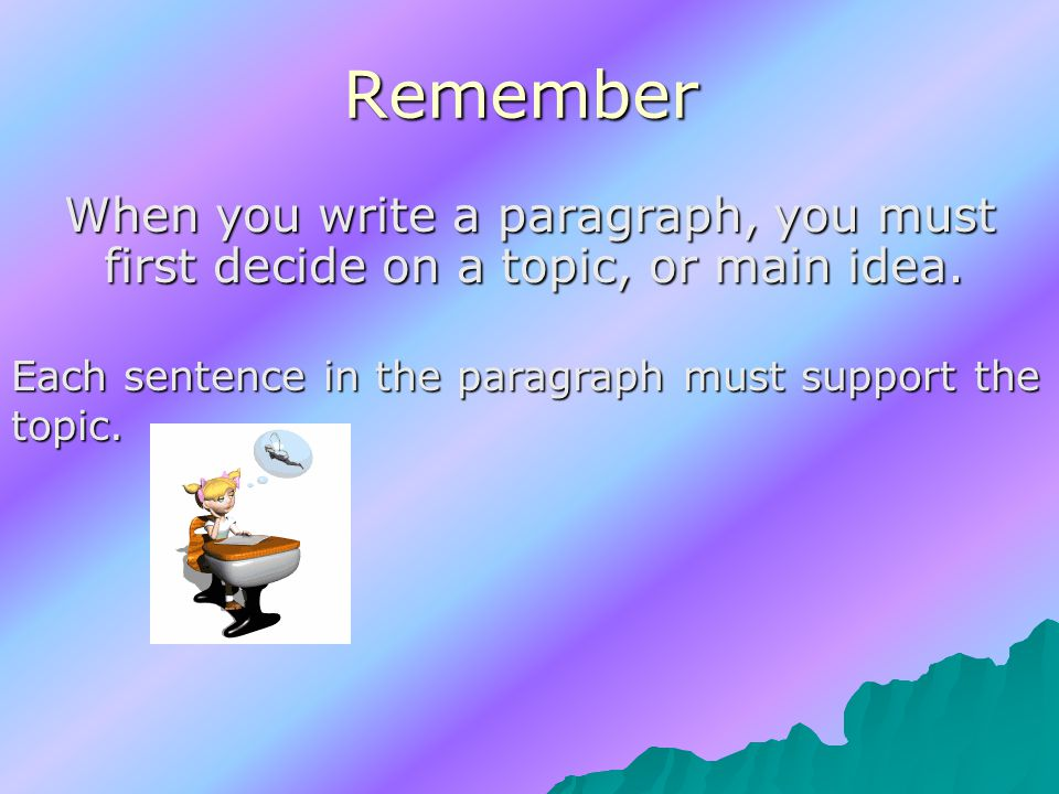 Remember When you write a paragraph, you must first decide on a topic, or main idea.