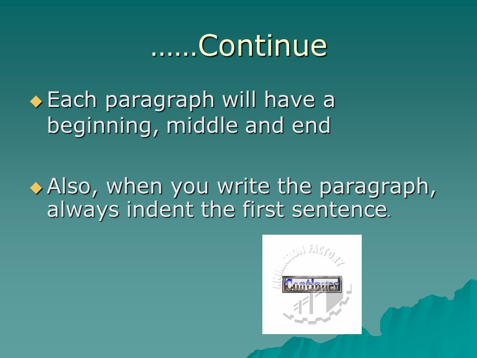 ……Continue  Each paragraph will have a beginning, middle and end  Also, when you write the paragraph, always indent the first sentence.
