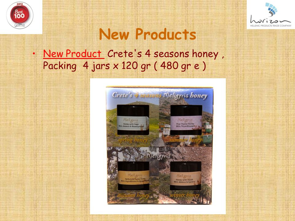 New Products New Product Crete s 4 seasons honey, Packing 4 jars x 120 gr ( 480 gr e )