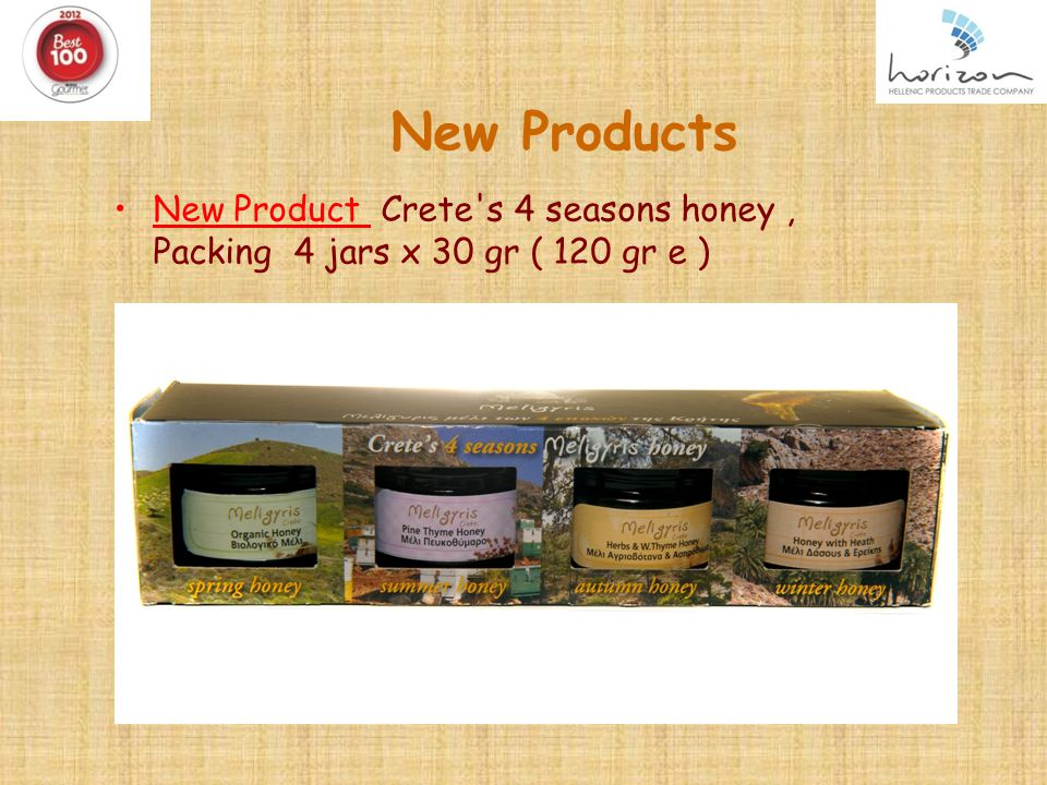 New Products New Product Crete s 4 seasons honey, Packing 4 jars x 30 gr ( 120 gr e )