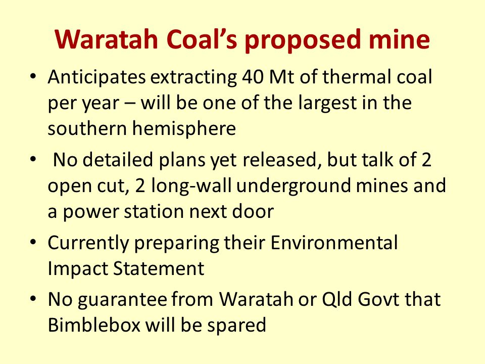 Waratah Coal's proposed mine Anticipates extracting 40 Mt of thermal coal per year – will be one of the largest in the southern hemisphere No detailed plans yet released, but talk of 2 open cut, 2 long-wall underground mines and a power station next door Currently preparing their Environmental Impact Statement No guarantee from Waratah or Qld Govt that Bimblebox will be spared