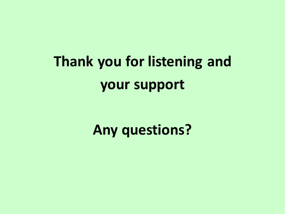 Thank you for listening and your support Any questions