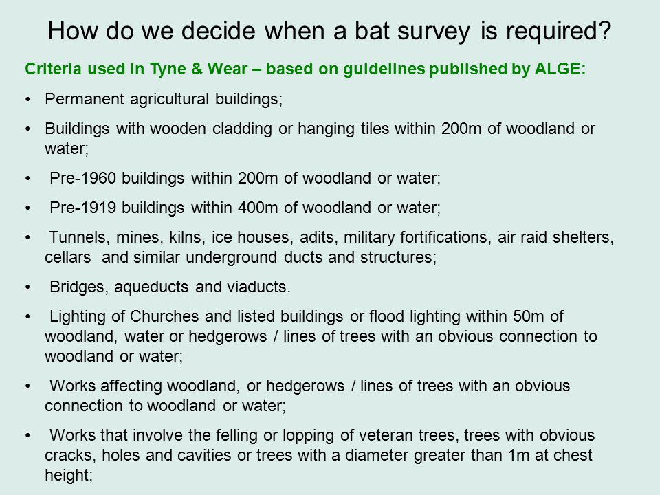 Criteria used in Tyne & Wear – based on guidelines published by ALGE: Permanent agricultural buildings; Buildings with wooden cladding or hanging tiles within 200m of woodland or water; Pre-1960 buildings within 200m of woodland or water; Pre-1919 buildings within 400m of woodland or water; Tunnels, mines, kilns, ice houses, adits, military fortifications, air raid shelters, cellars and similar underground ducts and structures; Bridges, aqueducts and viaducts.