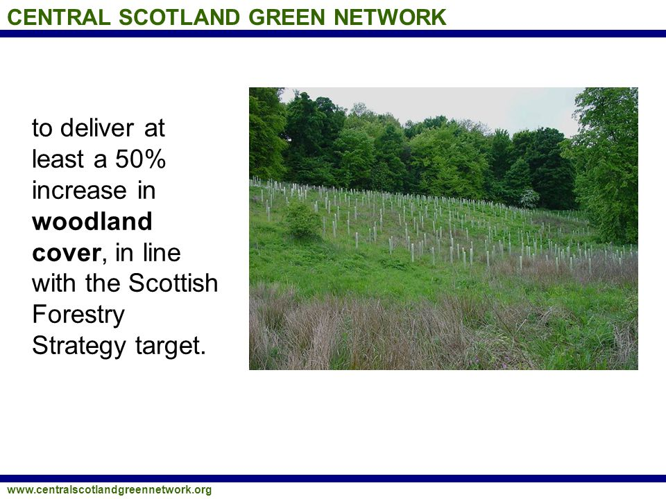 CENTRAL SCOTLAND GREEN NETWORK www.centralscotlandgreennetwork.org to deliver at least a 50% increase in woodland cover, in line with the Scottish Forestry Strategy target.