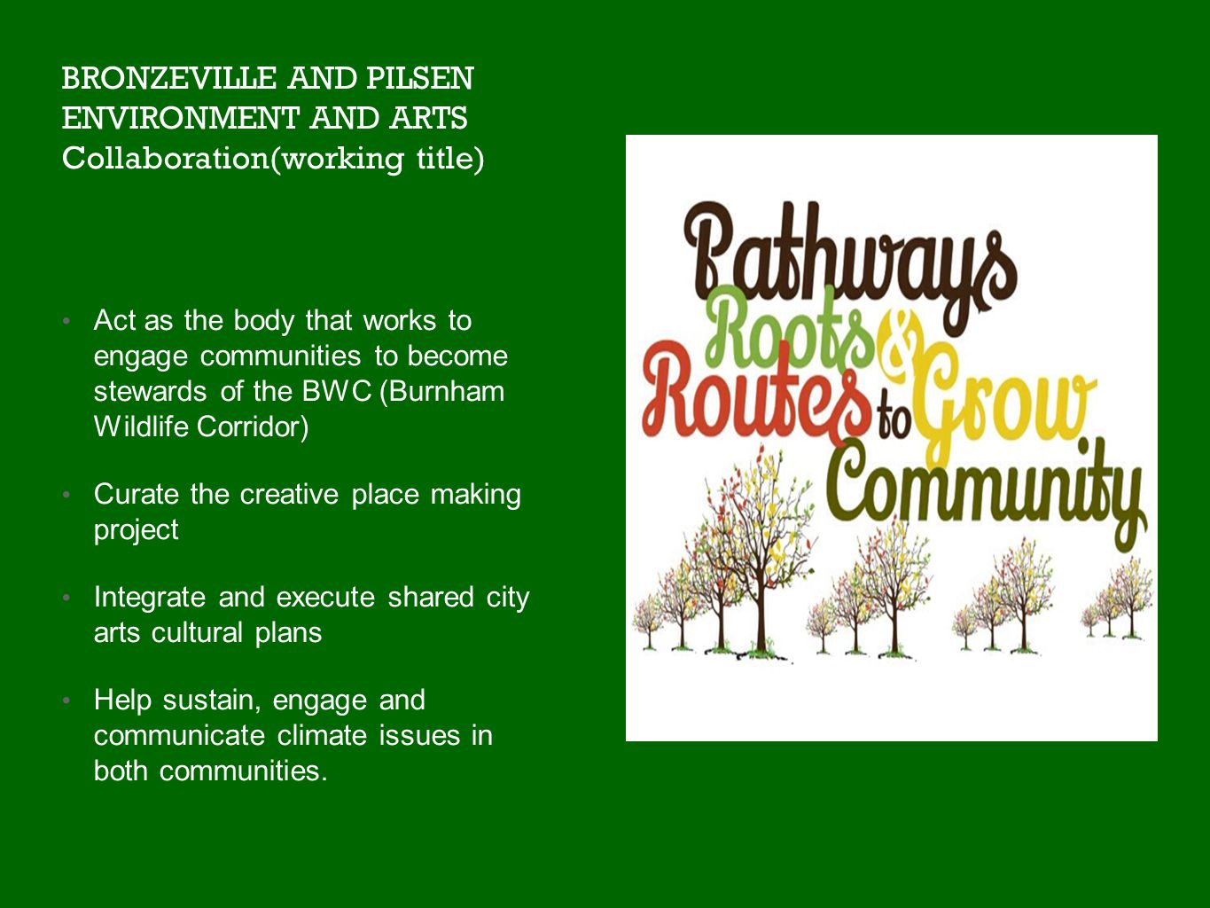 BRONZEVILLE AND PILSEN ENVIRONMENT AND ARTS Collaboration(working title) Act as the body that works to engage communities to become stewards of the BWC (Burnham Wildlife Corridor) Curate the creative place making project Integrate and execute shared city arts cultural plans Help sustain, engage and communicate climate issues in both communities.