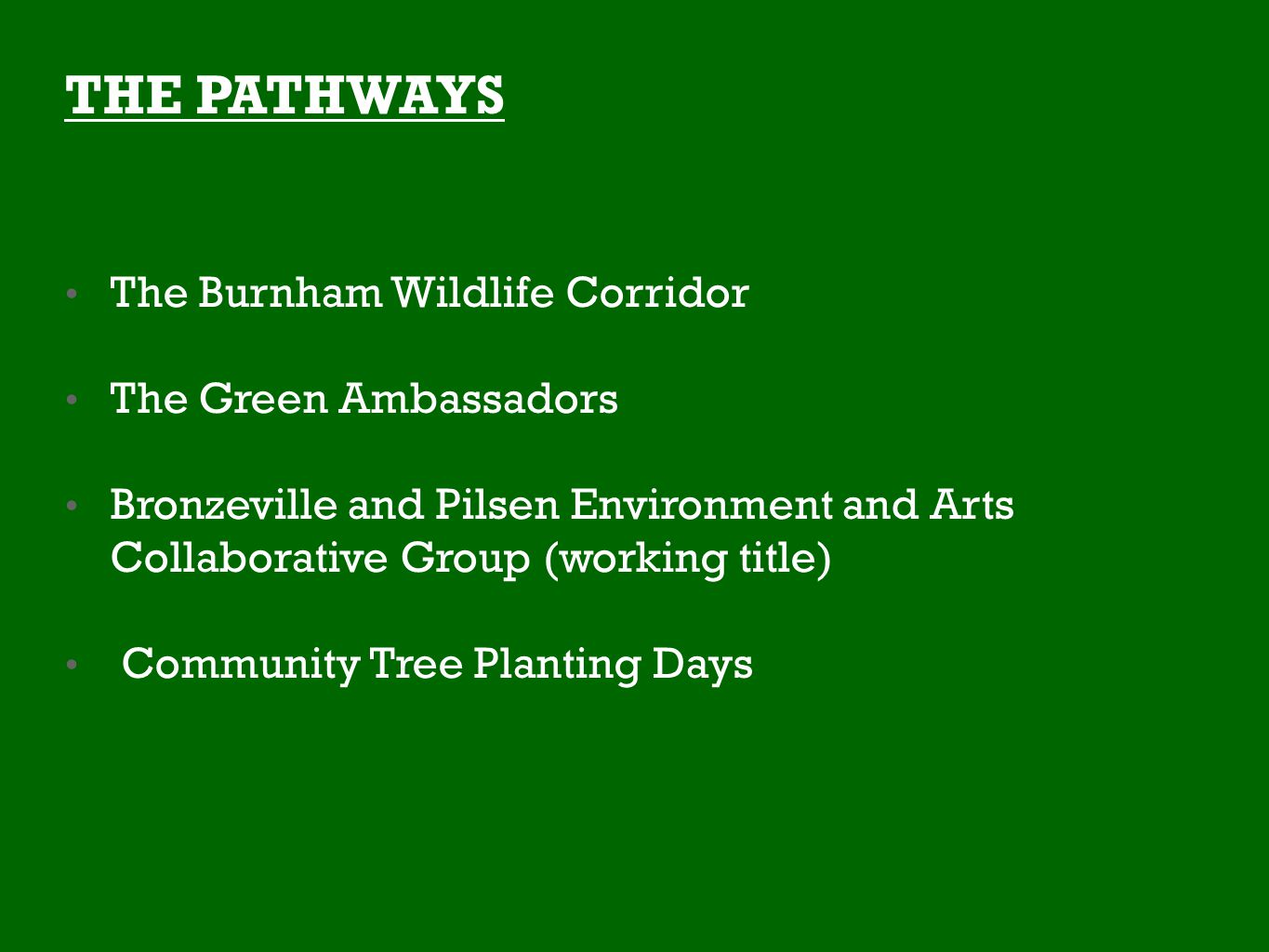 THE PATHWAYS The Burnham Wildlife Corridor The Green Ambassadors Bronzeville and Pilsen Environment and Arts Collaborative Group (working title) Community Tree Planting Days