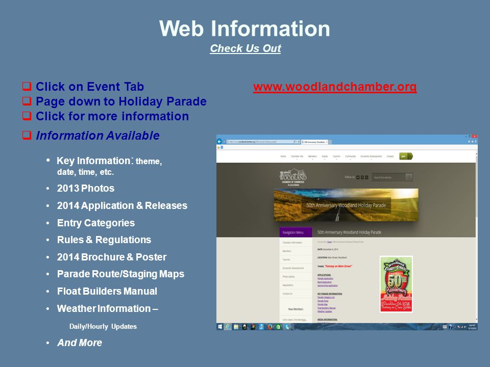 Web Information Check Us Out  Information Available Key Information : theme, date, time, etc.