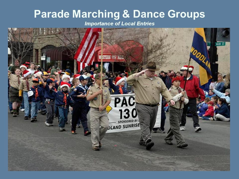 Where / How Can You Help  Becoming a Sponsor  Entering a Float or Novelty unit  Entering a Balloon  Sponsoring a Band  Sponsoring Pre Parade Events  Sponsoring Post Parade Awards Ceremony  Providing Trucks/Trailers to float entries  Providing construction & storage facilities to float entries  Providing individuals to assist with the many organizational aspects, such as marshalling & judging/review area set up and tear down, etc Our success in the past and in the future is driven by your gracious support