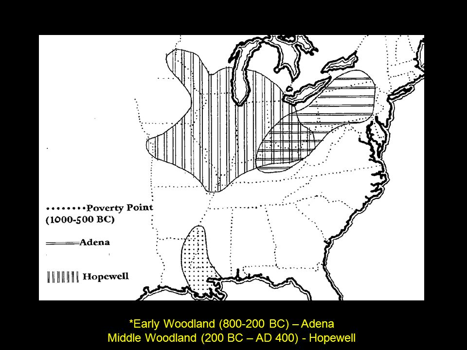 Adena & Hopwell heartland (epicenter) was in Ohio but extended over vast area of eastern NA Adena and Hopewell societies had broad trade relations, Including: Copper (Great Lakes) Mica (S.