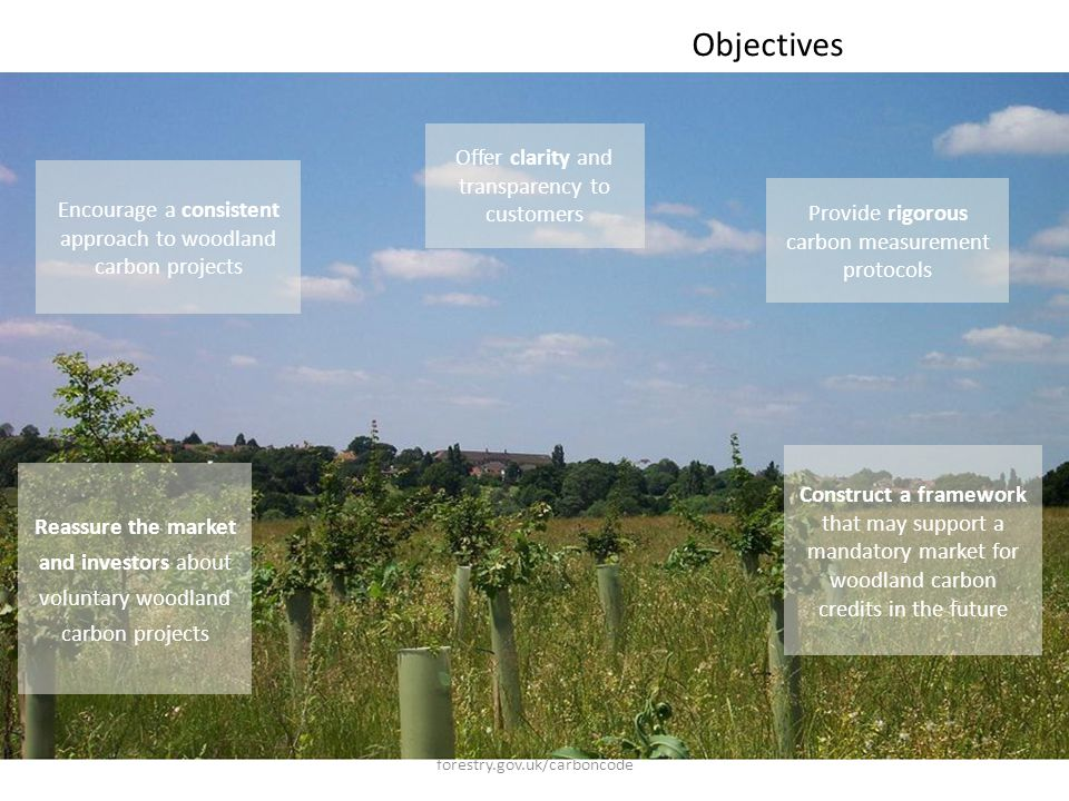 forestry.gov.uk/carboncode Objectives Construct a framework that may support a mandatory market for woodland carbon credits in the future Reassure the market and investors about voluntary woodland carbon projects Offer clarity and transparency to customers Provide rigorous carbon measurement protocols Encourage a consistent approach to woodland carbon projects