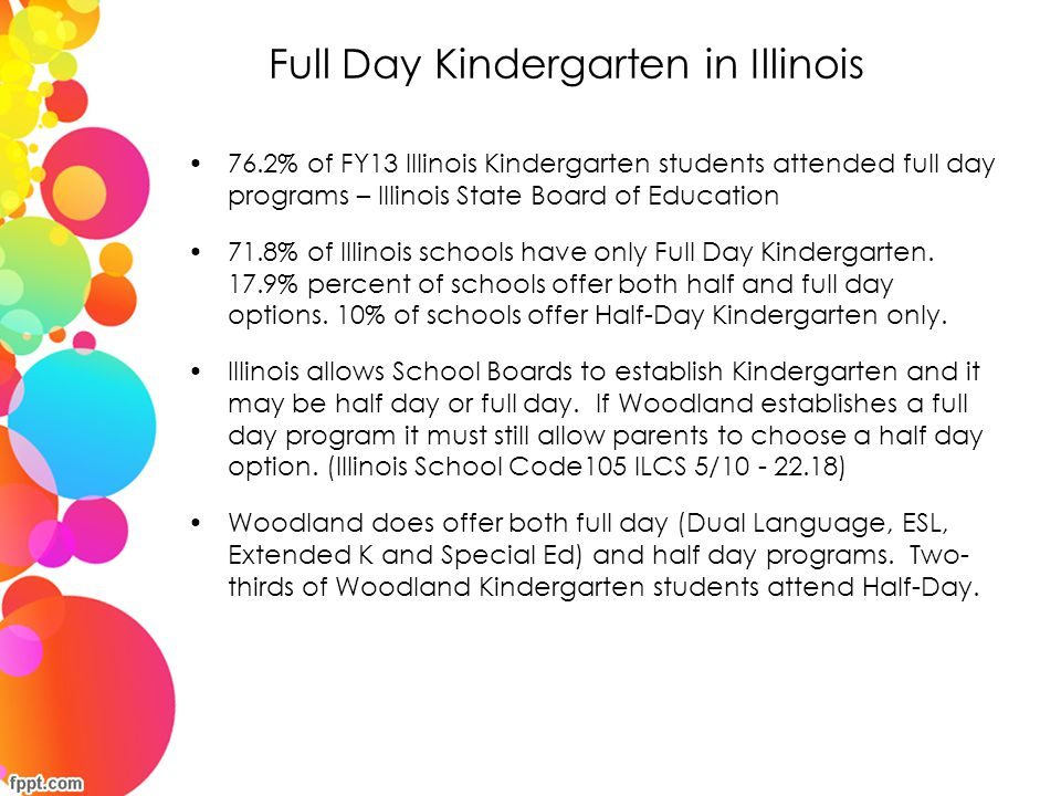 Full Day Kindergarten in Illinois 76.2% of FY13 Illinois Kindergarten students attended full day programs – Illinois State Board of Education 71.8% of