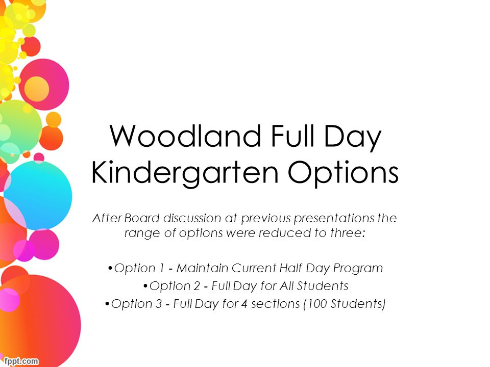 Woodland Full Day Kindergarten Options After Board discussion at previous presentations the range of options were reduced to three: Option 1 - Maintai