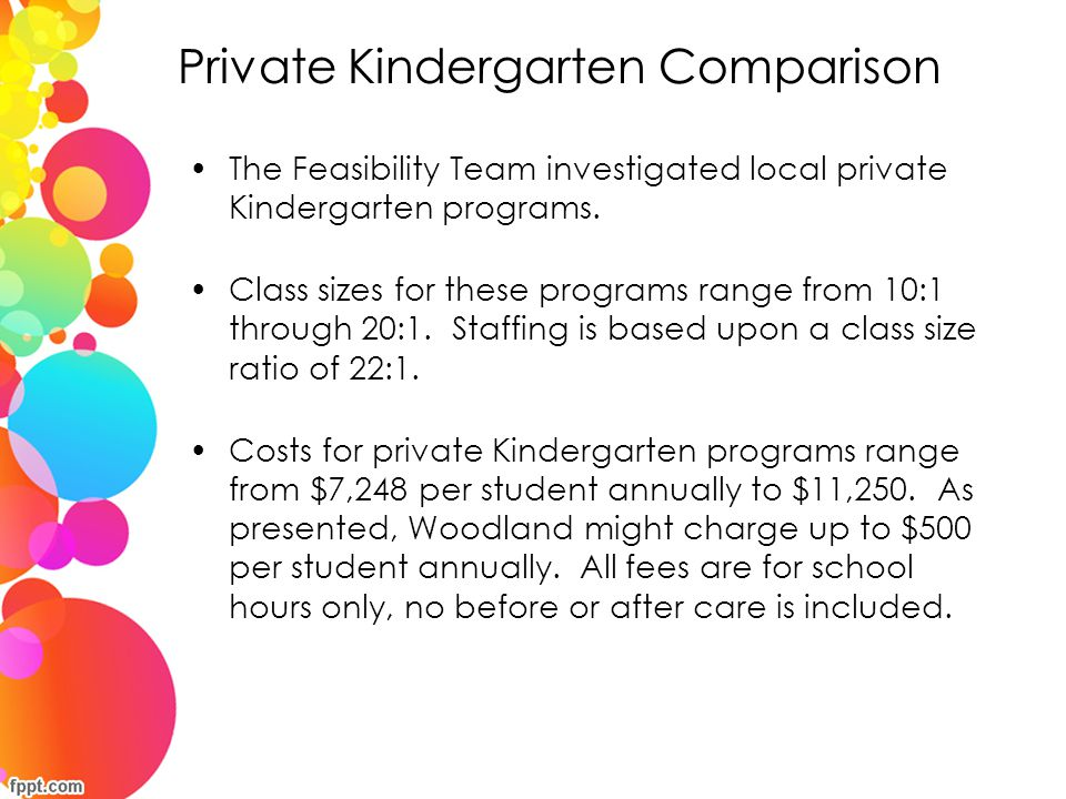 Private Kindergarten Comparison The Feasibility Team investigated local private Kindergarten programs. Class sizes for these programs range from 10:1