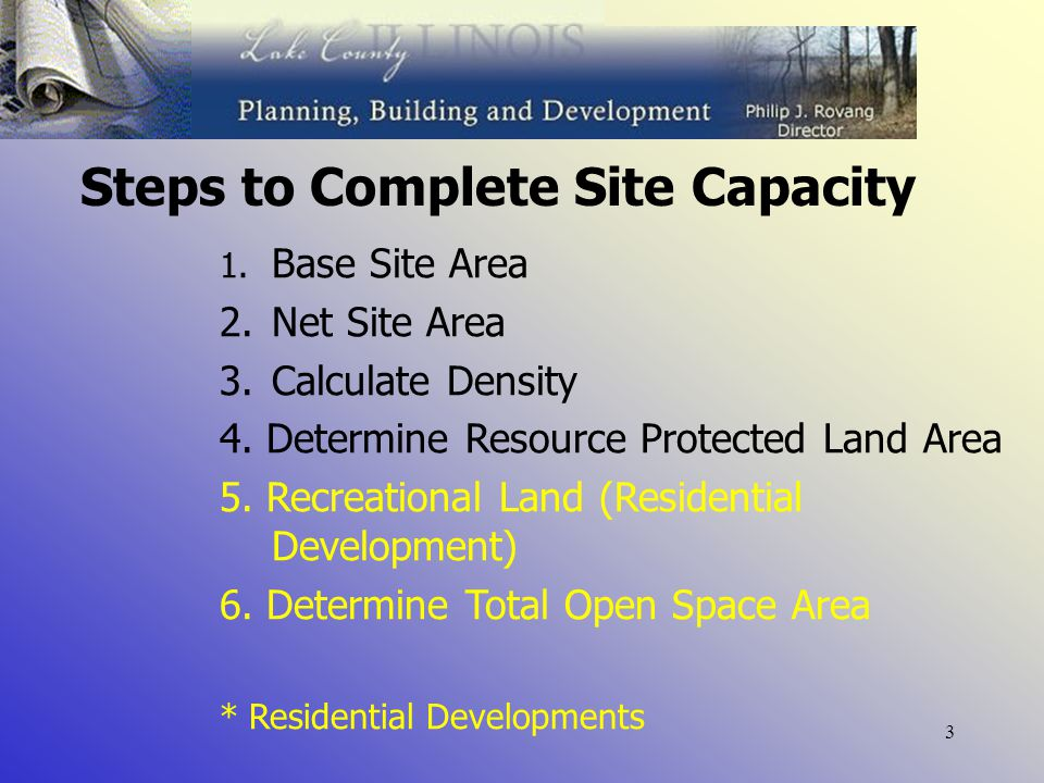 3 Steps to Complete Site Capacity 1. Base Site Area 2.