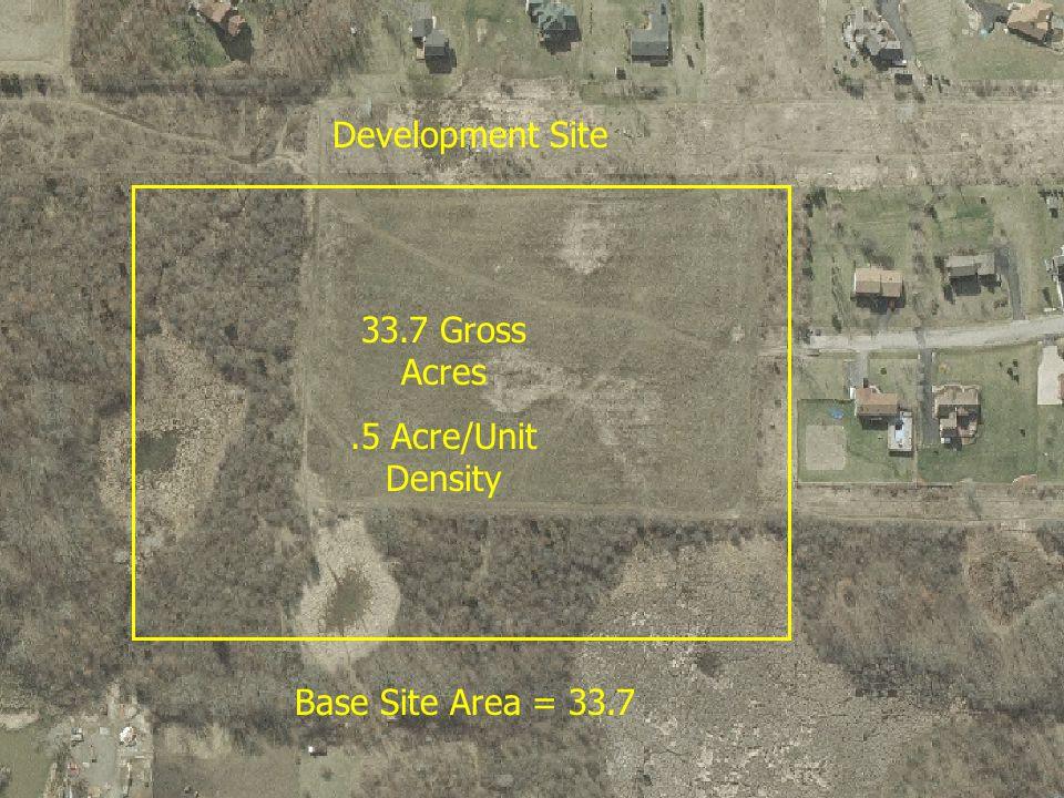 5 Development Site 33.7 Gross Acres.5 Acre/Unit Density Base Site Area = 33.7