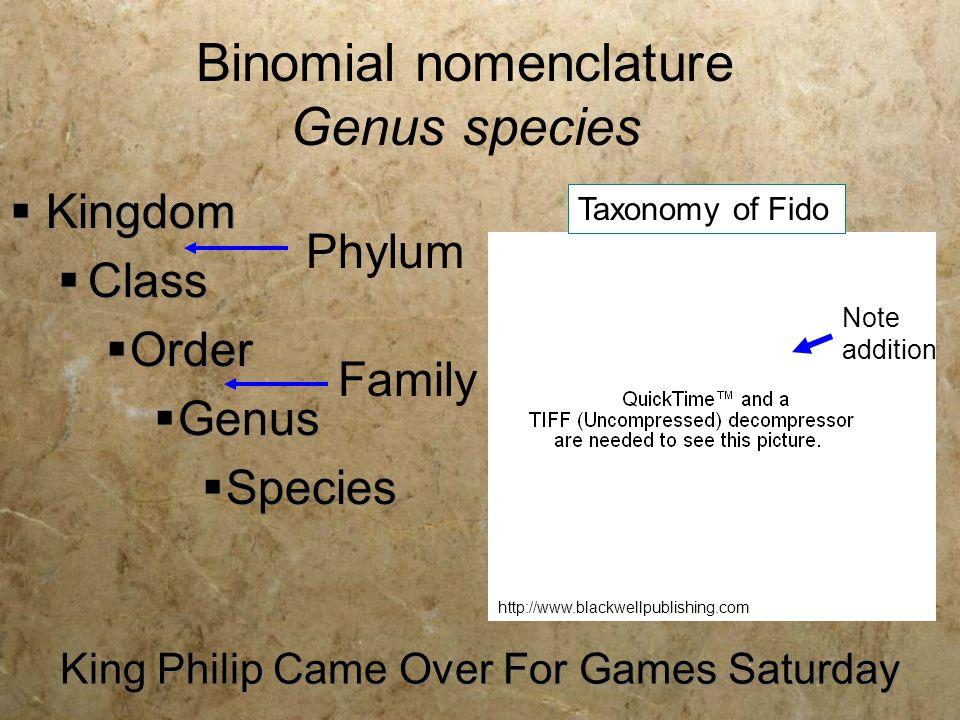 King Philip Came Over For Games Saturday  Kingdom  Class  Order  Genus  Species Phylum Family Binomial nomenclature Genus species Taxonomy of Fid
