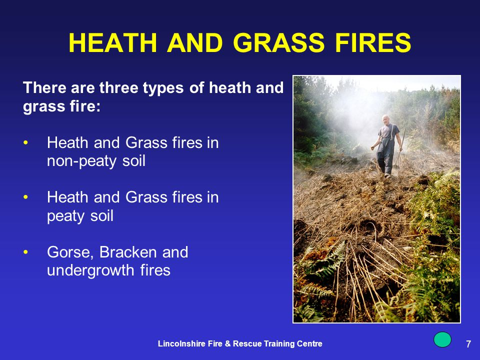 7 Lincolnshire Fire & Rescue Training Centre HEATH AND GRASS FIRES There are three types of heath and grass fire: Heath and Grass fires in non-peaty soil Heath and Grass fires in peaty soil Gorse, Bracken and undergrowth fires