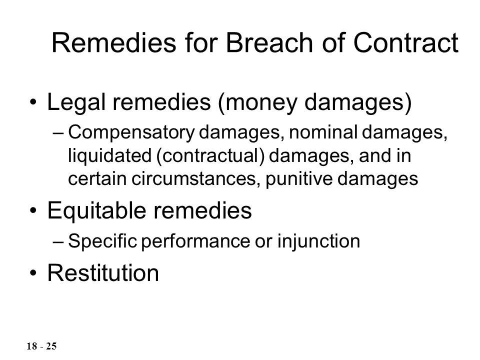 Legal remedies (money damages) –Compensatory damages, nominal damages, liquidated (contractual) damages, and in certain circumstances, punitive damage