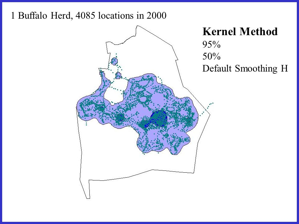 1 Buffalo Herd, 4085 locations in 2000 Kernel Method 95% 50% Default Smoothing H