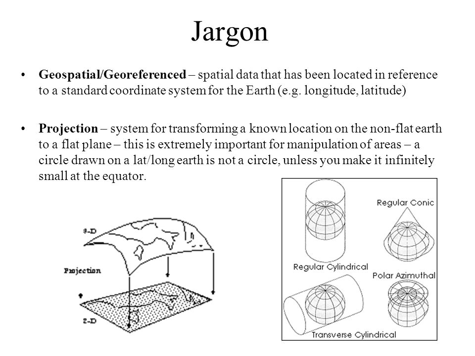 Jargon Geospatial/Georeferenced – spatial data that has been located in reference to a standard coordinate system for the Earth (e.g.
