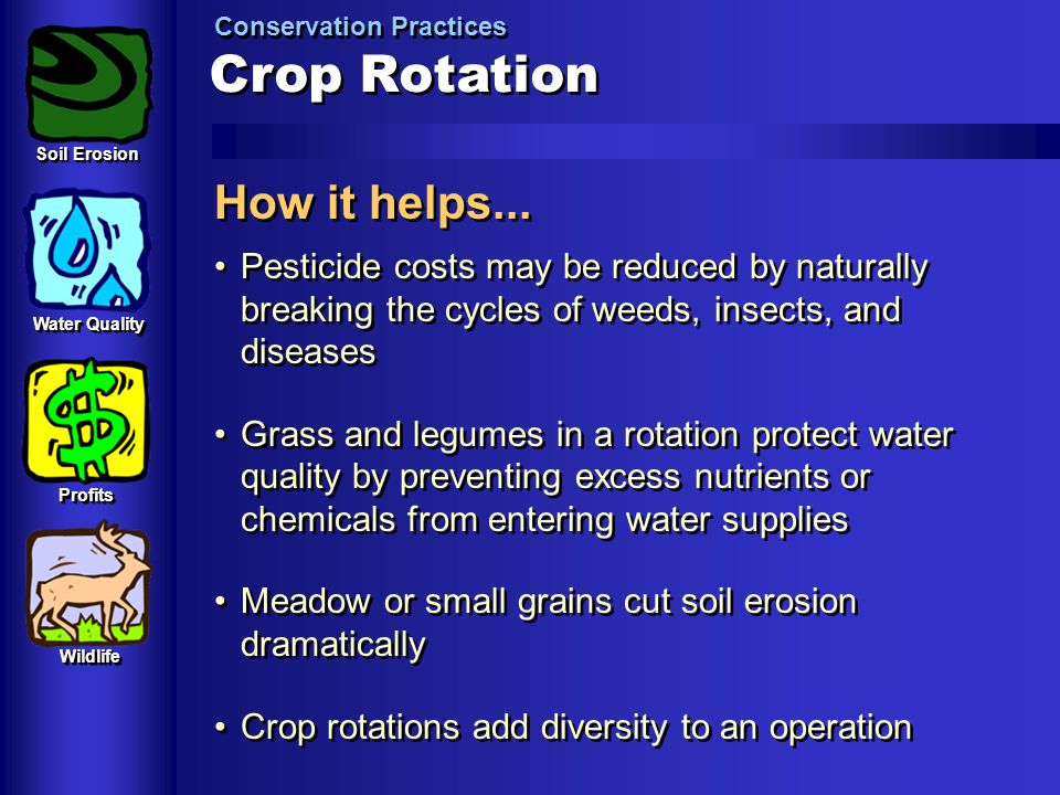 Crop Rotation Conservation Practices How it helps... Pesticide costs may be reduced by naturally breaking the cycles of weeds, insects, and diseases G