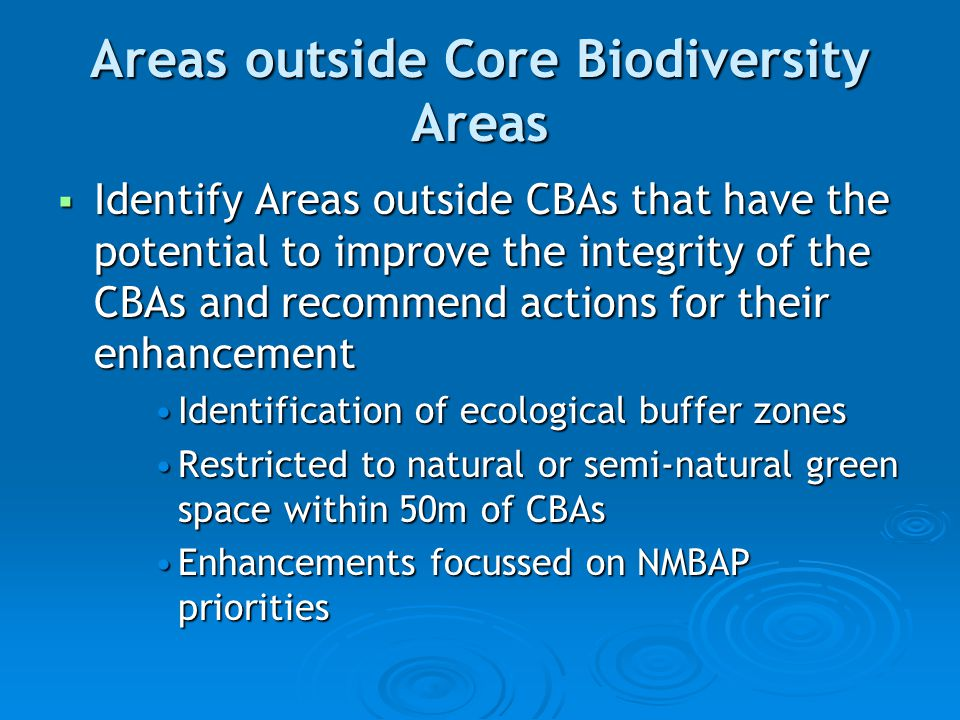 Areas outside Core Biodiversity Areas  Identify Areas outside CBAs that have the potential to improve the integrity of the CBAs and recommend actions for their enhancement Identification of ecological buffer zonesIdentification of ecological buffer zones Restricted to natural or semi-natural green space within 50m of CBAsRestricted to natural or semi-natural green space within 50m of CBAs Enhancements focussed on NMBAP prioritiesEnhancements focussed on NMBAP priorities