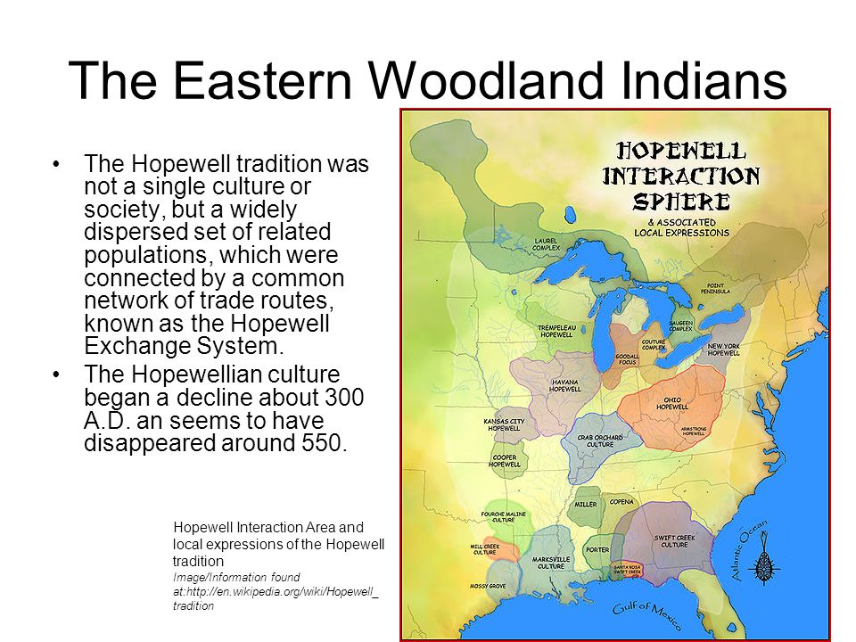 The Eastern Woodland Indians The Hopewell tradition was not a single culture or society, but a widely dispersed set of related populations, which were