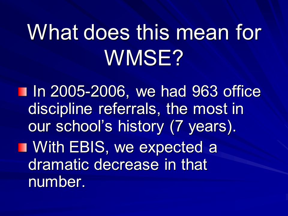 What does this mean for WMSE? In 2005-2006, we had 963 office discipline referrals, the most in our school's history (7 years). In 2005-2006, we had 9