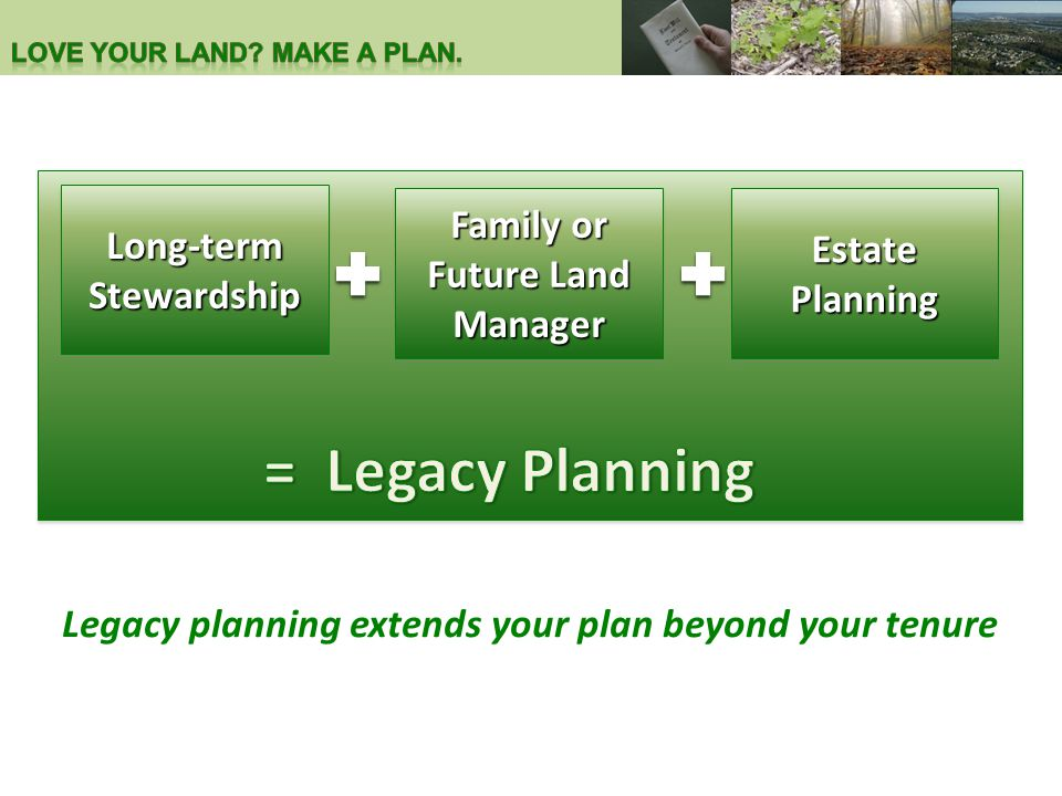 Estate Planning Family or Future Land Manager Long-term Stewardship Legacy planning extends your plan beyond your tenure