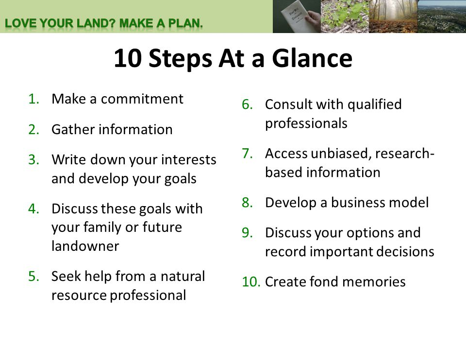 10 Steps At a Glance 1.Make a commitment 2.Gather information 3.Write down your interests and develop your goals 4.Discuss these goals with your famil