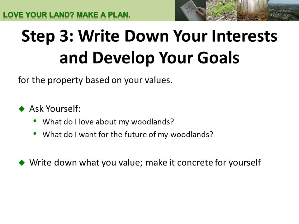 Step 3: Write Down Your Interests and Develop Your Goals for the property based on your values.  Ask Yourself: What do I love about my woodlands? Wha