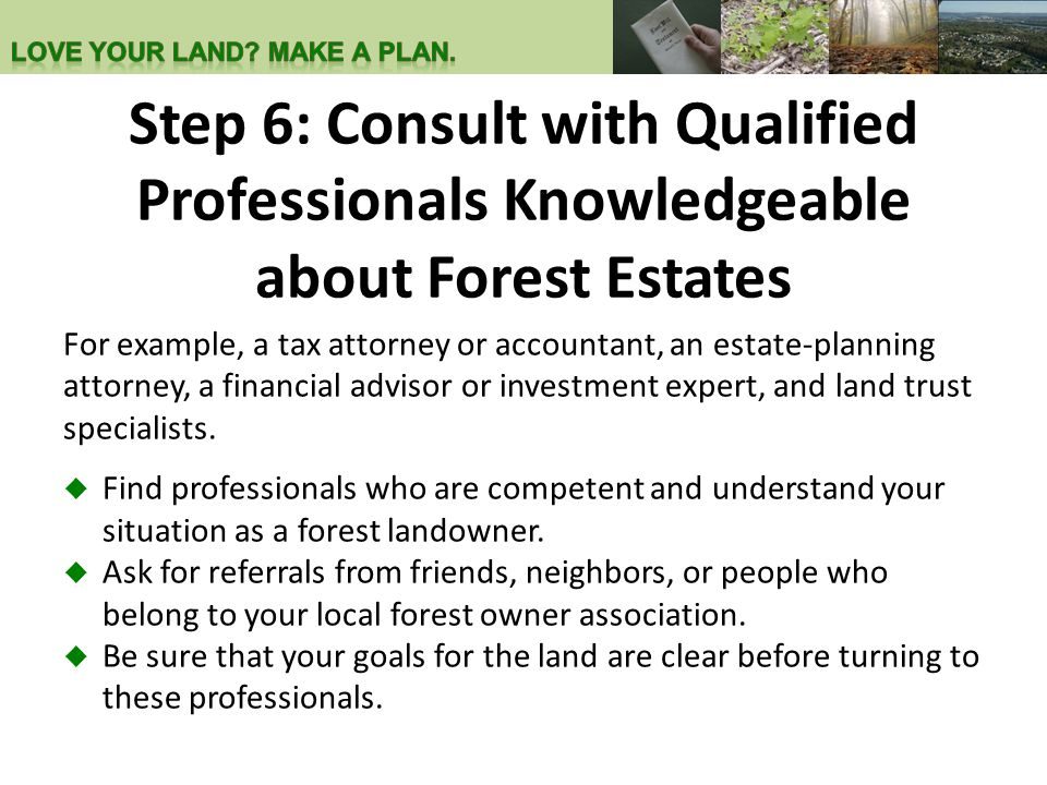 Step 6: Consult with Qualified Professionals Knowledgeable about Forest Estates For example, a tax attorney or accountant, an estate-planning attorney, a financial advisor or investment expert, and land trust specialists.