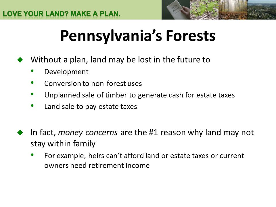 Pennsylvania's Forests  Without a plan, land may be lost in the future to Development Conversion to non-forest uses Unplanned sale of timber to generate cash for estate taxes Land sale to pay estate taxes  In fact, money concerns are the #1 reason why land may not stay within family For example, heirs can't afford land or estate taxes or current owners need retirement income