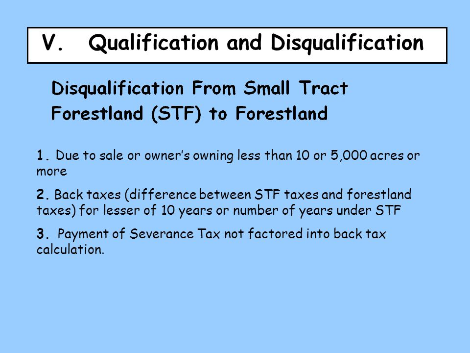 V.Qualification and Disqualification 1.