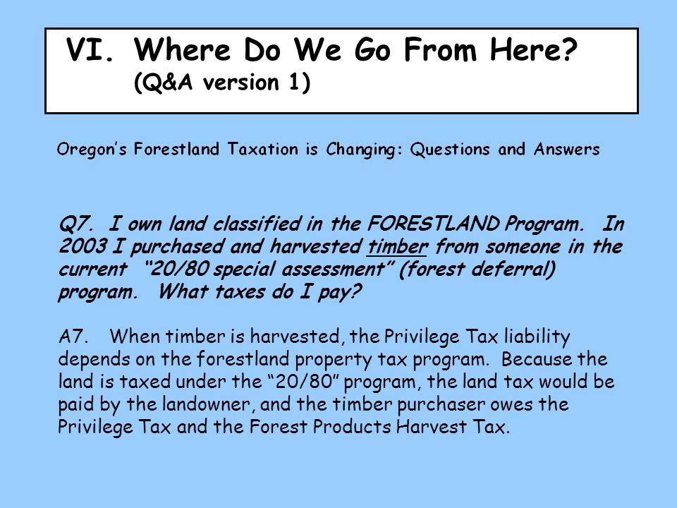 VI.Where Do We Go From Here. (Q&A version 1) Q7.I own land classified in the FORESTLAND Program.