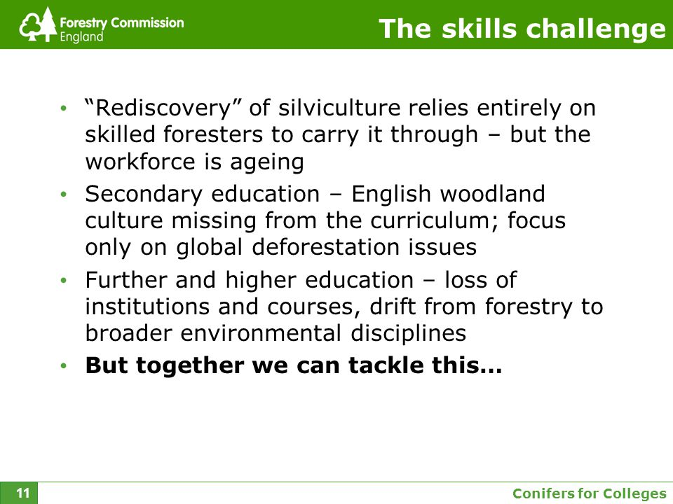 Conifers for Colleges 11 The skills challenge Rediscovery of silviculture relies entirely on skilled foresters to carry it through – but the workforce is ageing Secondary education – English woodland culture missing from the curriculum; focus only on global deforestation issues Further and higher education – loss of institutions and courses, drift from forestry to broader environmental disciplines But together we can tackle this…