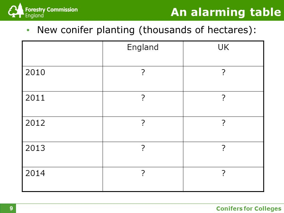 Conifers for Colleges 9 An alarming table New conifer planting (thousands of hectares): EnglandUK 2010?.
