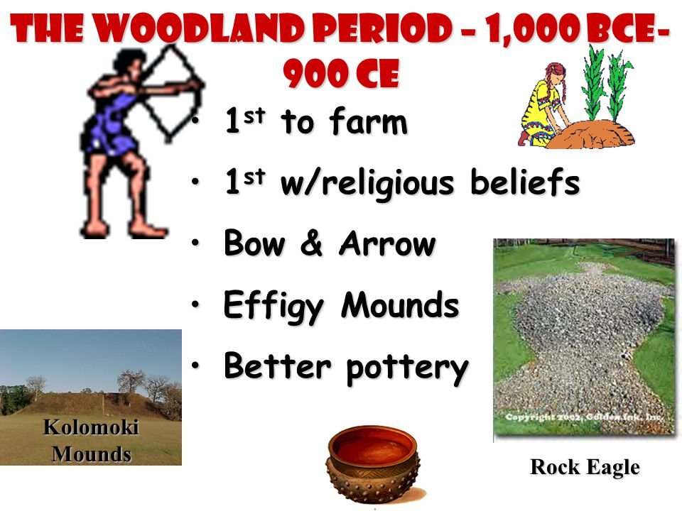 The Woodland Period – 1,000 BCE- 900 CE 1 st to farm1 st to farm 1 st w/religious beliefs1 st w/religious beliefs Bow & ArrowBow & Arrow Effigy Mounds