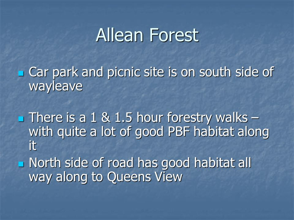 Allean Forest Car park and picnic site is on south side of wayleave Car park and picnic site is on south side of wayleave There is a 1 & 1.5 hour forestry walks – with quite a lot of good PBF habitat along it There is a 1 & 1.5 hour forestry walks – with quite a lot of good PBF habitat along it North side of road has good habitat all way along to Queens View North side of road has good habitat all way along to Queens View