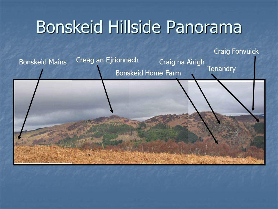 Bonskeid Hillside Panorama Tenandry Craig na Airigh Craig Fonvuick Creag an Ejrionnach Bonskeid Home Farm Bonskeid Mains