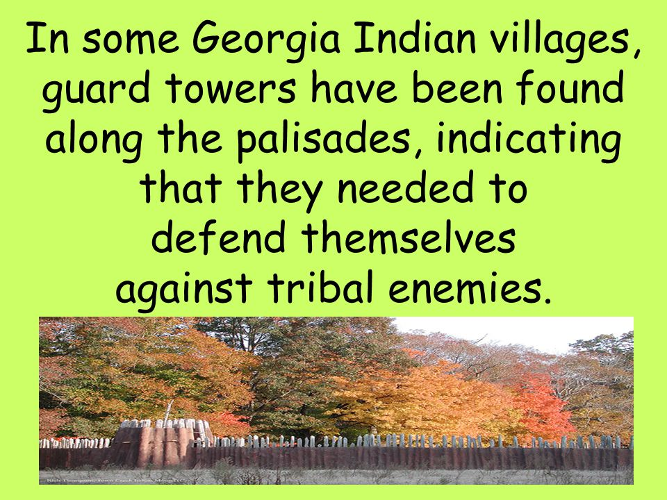 44 In some Georgia Indian villages, guard towers have been found along the palisades, indicating that they needed to defend themselves against tribal