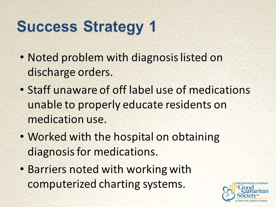 Noted problem with diagnosis listed on discharge orders. Staff unaware of off label use of medications unable to properly educate residents on medicat