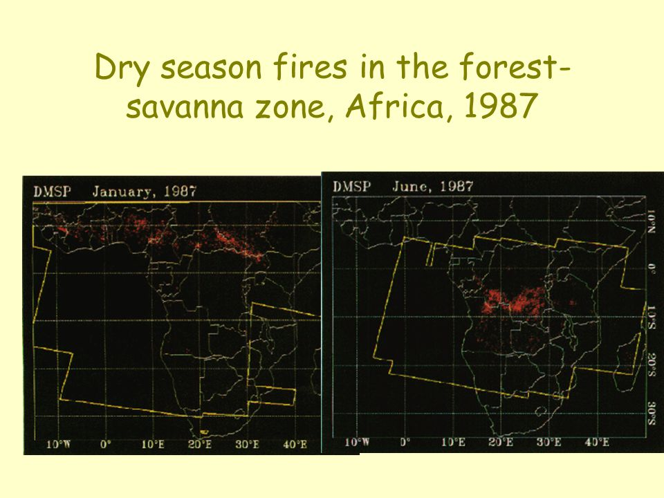 Dry season fires in the forest- savanna zone, Africa, 1987