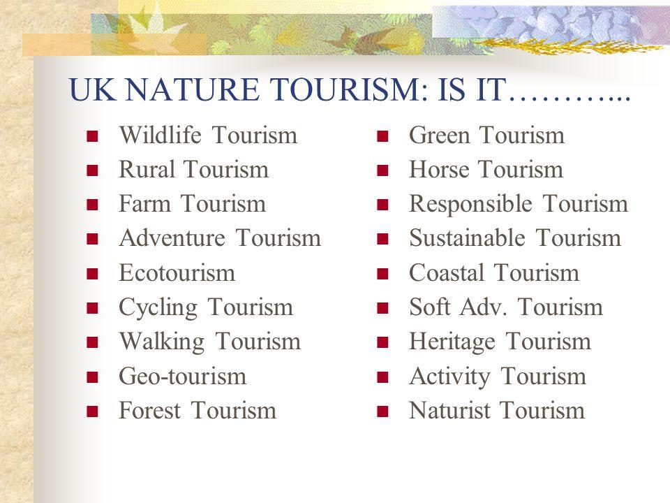 UK NATURE TOURISM: IS IT………... Wildlife Tourism Rural Tourism Farm Tourism Adventure Tourism Ecotourism Cycling Tourism Walking Tourism Geo-tourism Fo