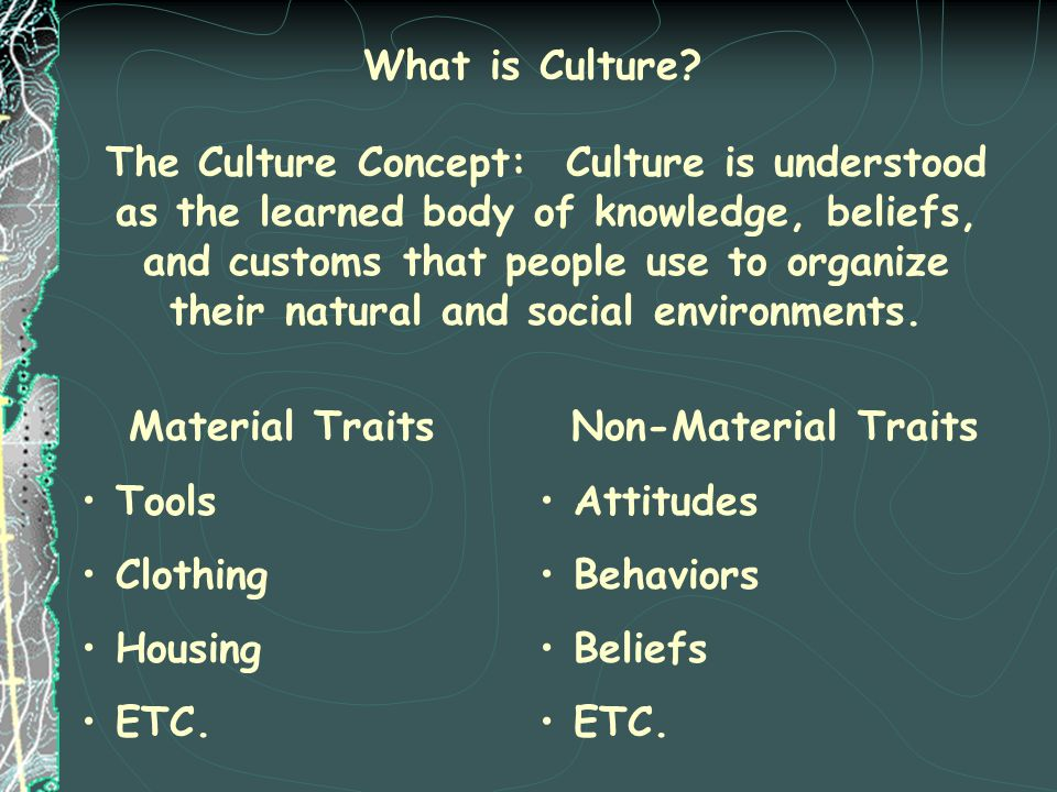 What is Culture? The Culture Concept: Culture is understood as the learned body of knowledge, beliefs, and customs that people use to organize their n