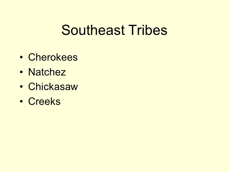 Southeast Tribes Cherokees Natchez Chickasaw Creeks