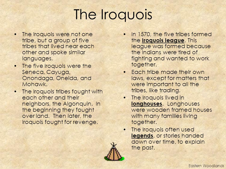 The Iroquois Eastern Woodlands The Iroquois were not one tribe, but a group of five tribes that lived near each other and spoke similar languages.